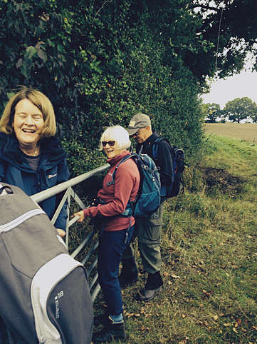 The Half Day walking group struggle with a gate!
